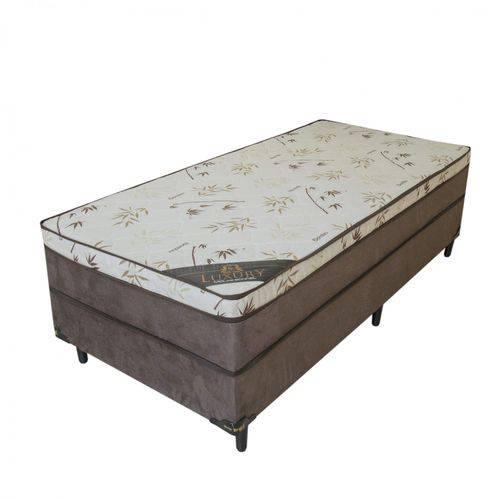 Dia do Solteiro: 【Qual o Preço?】→ Preço Cama Box Solteiro Conjugado com Mola Luxury Sleep Brasil Bambu Bege